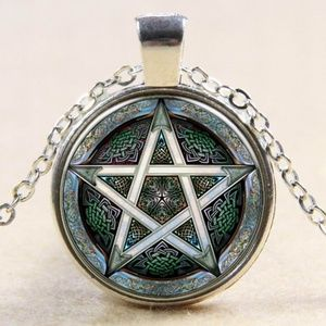 "Ornate Pentagram Glass Dome  18"" Necklace"